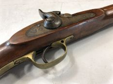 An antique 19th century 10 bore percussion cap musket rifle, c1850. No makers marks, but the stock