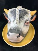 19th Century Staffordshire pottery bull's head cheese cover together with Oval yellow plate. Head