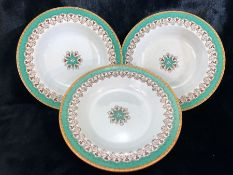 Three hand painted cabinet plates one incised with Edge Malkin & Co, also mark for TRENT