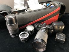 Olympus OM-2 SLR vintage camera with VIVITAR 72mm skylight lens, various additional lenses and