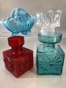 Two Dartington square formed vases, one in blue and one red along with a turquoise vaseline glass