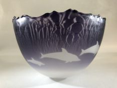 Malcolm Sutcliffe transparent purple Dolphin bowl single cased and acid polished