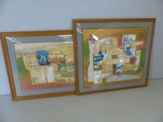 Two large contemporary decoupage framed pictures measuring approx. 159cm x 98cm and 125cm x 114cm