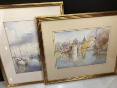 Two Watercolour paintings both by Molly Standing depicting a harbour scene and a castle & moat