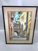 Antonio De Velez 1905 - 1969: Watercolour signed Lower right of a European street scene.