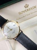 9ct. Gold sovereign wrist watch in case