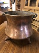 French Copper Soup kettle on tripod feet with iron handle