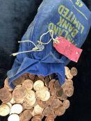 Large Quantity of uncirculated Pennies in original cash bag all 1966