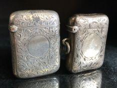 Two Hallmarked Silver Vesta cases Birmingham 1899 & Birmingham 1893