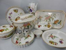 Selection of Royal Worcester Evesham tableware over two shelves