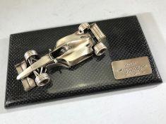 Jaguar limited edition Formula 1 racing model on a carbon fibre base (presentation item from Jaguar)