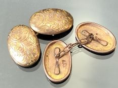 """Pair of 9ct Gold Cuff-links of oval design maker """"RP"""" and inscribed with foliage decoration ("""