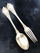Hallmarked Silver Christening set of Spoon & Fork Hallmarks for Birmingham 1880 maker John