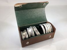 Rollei F&H leather case containing lenses. Nine Lenses by FRANKE & HEIDECKE to include coloured