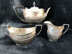 Victorian Silver Hallmarked teaset, London 1894, teapot, sugar and milk total weight approx 382g
