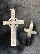 Silver (Edinburgh 1992) Large cross pendant and a Agate cross pendant
