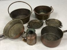 Collection of copper items mostly pans