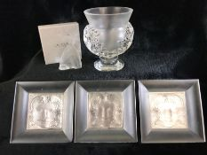 Rene Lalique items to include three pin dishes, a butterfly and vase