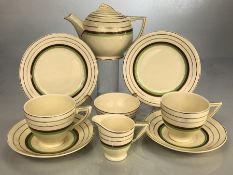Wedgwood tea for two Art Deco teaset: two cups & saucers; milk; sugar; plates and teapot. Green