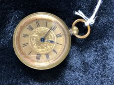 Ladies Gilt Metal Fob Watch Swiss Made Case Marked FWC