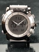 Large faced analogue and digital designer watch, brand new, black and grey by Burei