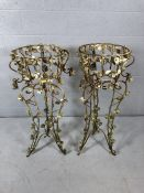 Pair of ornate large metal plant stands with painted metal flowers applied (approx 107cm tall)