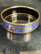"Hermes ""Birds"" Gold Tone Enamel Bangle Bracelet"