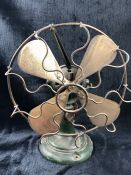 Industrial Vintage fan on Heavy Green metal base with gold blades (needs re-wiring) approx 32cm