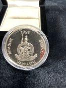 A Vanuatu 1993 50 Vatu silver proof coin, in celebration of Queen Elizabeth II 1953 - 1993