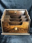 Large size Arts & Crafts three compartment Oak desk organiser approx 35cm tall
