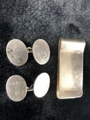 Pair of Birmingham Hallmarked Silver Cufflinks and a Silver Money Clip (approx 30g)