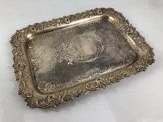 Hallmarked 1897 Birmingham silver platter with repousse decoration (approx 674g) maker Deykin &