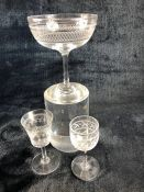 Three vintage etched glasses