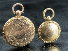 Two Lockets: (One) Gilt Metal approx: 25.9mm diameter with a hinged section containing Human Hair,