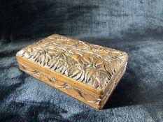Carved oak wooden cigarette box (approx 20cm x 12cm)
