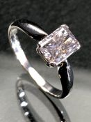18ct white gold emerald cut single stone diamond ring of approx 1.1cts