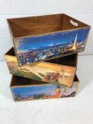 Set of three stacking wooden storage boxes / crates with decorative photographic designs