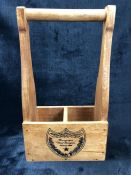 Wooden two compartment storage crate / bottle holder marked 'Moet et Chandon'