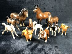 Collection of eleven Beswick animals to include Horses etc