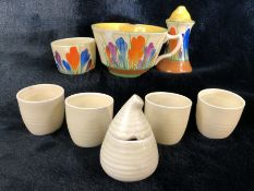 Small collection of Clarice Cliff to include three items in the Crocus design and five items