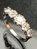 18ct white gold five stone diamond ring of approx 1.65cts