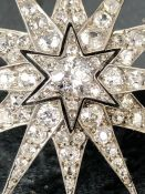 Late Victorian six-rayed Starburst Diamond Brooch, encrusted throughout with 97 various sized Old