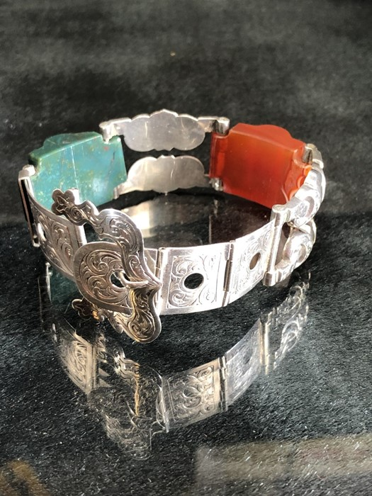 Lot 303 - Scottish Silver (Unmarked) Engraved 'strap' style bracelet approx: 17.15mm wide, and with a 35mm