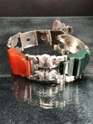 Scottish Silver (Unmarked) Engraved 'strap' style bracelet approx: 17.15mm wide, and with a 35mm