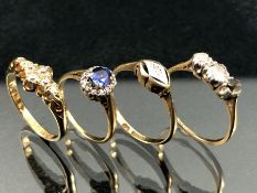 Four 18ct Gold rings (A/F) total weight approx 8.2g
