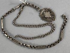 Hallmarked Silver chains and a Birmingham hallmarked medallion A/F (approx 61g)