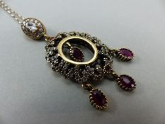 Silver 925 with gold plating in parts, Oval form Ruby and possibly CZ Pendant. Overall dimensions