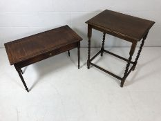 Two occasional tables, one with barley twist legs, the other with fluted legs