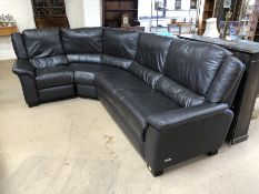 Dark brown leather corner sofa with recliner