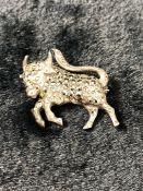 Marcasite bull brooch